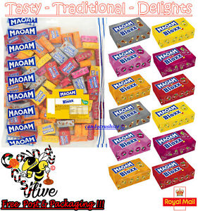 200g Haribo Mini Maoam Bloxx Fruit Chews Wrapped Sweets Party Bag Retro