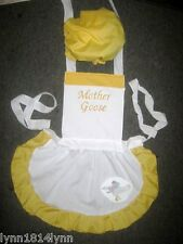 GIRLS KIDS MOTHER GOOSE COSTUME APRON & MOP TOP HAT M2O Fit 1-12 years