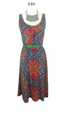 DOTTI Dress - Rainbow Aztec Geometric Print Vintage Hippy Boho Button Stretch 8