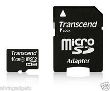 Transcend 16GB microSDHC Class 4 Memory Card With SD Adapter