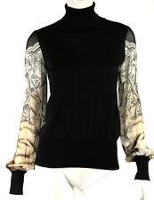 ROBERTO CAVALLI Black Knit & Tiger Rococo Sleeve Turtleneck Sweater 44