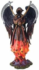 10.5 Inch Grim Reaper in Flames Holy Death La Santa Muerte Statue Figurine Image