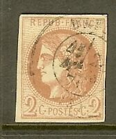 "FRANCE STAMP TIMBRE N° 40B "" CERES BORDEAUX 2c BRUN-ROUGE "" OBLITERE TB"