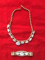 Vintage Silver Color Blue Opal Rhinestone Choker Necklace & Bracelet Jewelry Set