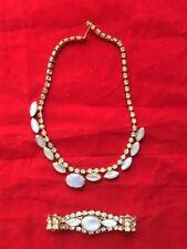 Vintage Silver Color Blue Opal Rhinestone Choker Necklace & Bracelet Jewelry Set