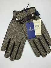 NWT Abraham Moon Mens Chocolate Brown Leather & Tweed Wool Dress Gloves Large