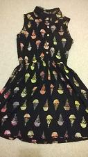 Vestido de Verano Sugarhill Boutique Estilo Retro Helado Imprimir. Size UK 8
