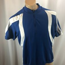 Quest Men's Blue White Athletic Bike 3 Pocket Cycling Jersey Shirt XL