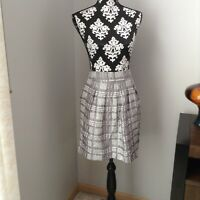 Womens THE LIMITED Gray & White Print Pleated Skirt w Pockets Lining Size M