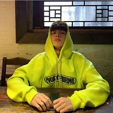 Unisex loose oversize fit embroidered slogan Korean skater hoodie in neon green