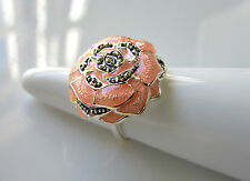 QVC Peach Pink Enamel & Marcasite Sterling Silver Ring UK Size L