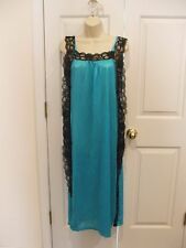 new/pkg aqua/ black lace long nightgown ties at sides & bikini made in USA small