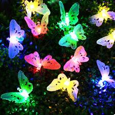 12LED Solar Powered Butterfly Fiber Optic Fairy String Outdoor Garden Lights UK