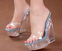 Ladies Platform Transparent Wedge Slipper Sandals Crystal Clear High Heel Shoes