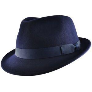Mens Gangster Navy Blue Trilby Fedora Hat 100% Wool Felt-S.M.L,XL (UK) VGT Style