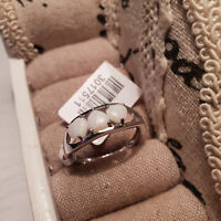 Stunning Australian White Opal Trilogy Ring in Platinum Over Sterling Silver