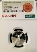 2019 MEXICO SILVER LIBERTAD 1/10 ONZA NGC PF 70 ULTRA CAMEO PERFECTION 1/10 OZ !