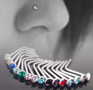 10 x Titanium Steel Nose Studs Rings Rhinestone Crystal Gem Piercing Bars UK