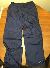 Nike Mens XL Sweat Pants Wind Soccer Track Flannel Lined Blue Nylon