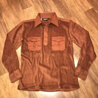 NOS Vtg 60s TERRY CLOTH Shirt CAMPUS Brown Mid Century Mod Disco New MENS SMALL