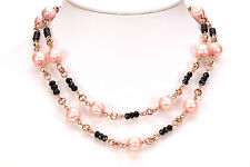 "Honora 10.0mm Rose Cultured Pearl & Black Spinel Rose Bronze 36"" Long Necklace"