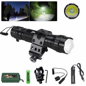 LED Tactical Predator Hunting Light Flashlight Weapon QD Gun Rail Mount Torch