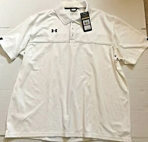 Under Armour UA Team Men HeatGear Loose Classic Sideline Polo White S or XL  $65