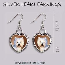 West Highland White Terrier Dog Westie - Heart Earrings Ornate Tibetan Silver