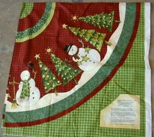Debbie Mumm TOP HAT SNOWMEN Fabric Panel for Xmas Tree Skirt or Tablecloth