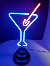 Neon Martini Glass With Olive Lamp Blue Pink Euc Bar Alcohol Light