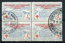 STAMP ERINNOPHILIE TIMBRE VIGNETTE PRO SANATORIO ANTITUBERCULOSO 1937 BLOC DE 4