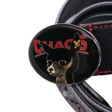 Vivienne Westwood Belt Black Grey Canvas Leather Metal Chaos Dog Buckle W28 - 32