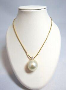 Yvel 18k Yellow Gold South Sea Pearl Diamond Necklace *NEW* N-1DROPSSBRY