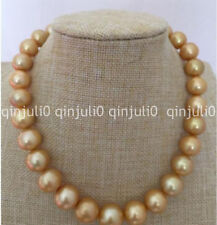Genuine Natural Huge 13-15mm south sea round gold pearl necklace 18 inch
