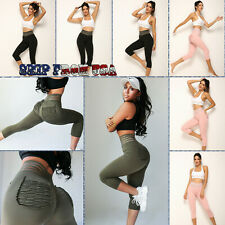 Women Fitness Leggings w/Back Pockets Hot Pilate Yoga Gym Pants Workout Trousers