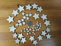100x 10 - 40mm STAR SHAPES 3mm BLANKS - PLY SHAPES CRAFT TAG