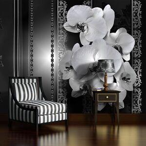 Fototapete XXL Orchidee Ornament Schwarz Schlafzimmer Wandtapete Tapete 51