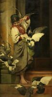 "perfect 24x48 oil painting handpainted on canvas""Girl With Pigeons"" NO6930"