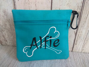 dog treat bag personalised with any name or text and bone logo easy to attach