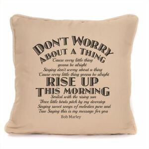 Bob Marley Three Little Birds Lyrics Cushion Cover Don't Worry About A Thing