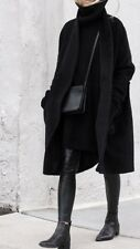 Zara New Black Long Wool Coat Size L UK 12 Genuine Zara