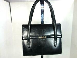 Gucci Vintage 1980's Black Lizard  Evening Bag W/Ruby red Jeweled closure