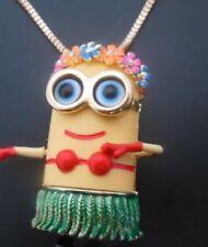 Betsey Johnson Necklace Minion Yellow Hula Hawaii Aloha Luau Grass Skirt