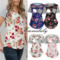 Women Pregnancy Nursing Summer Short Sleeve Tops Casual Maternity T Shirt Blouse