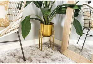 Set Of 2 Gold Iron Planters w/Stands ~ Decorative Plant Flower Holder Display