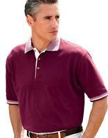 UltraClub Men's Relaxed Fit 100% Cotton Multi Stripe Trim Pique Polo Shirt. 8537