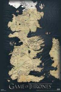 Game of Thrones Map Westeros Narrow Sea HBO TV Show Fantasy Poster - 24x36