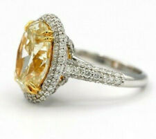 5.00 Ct Oval Cut Yellow Diamond Hidden Halo Engagement Ring 14K White Gold Fn