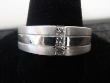 14k White Gold Ring With Three Diamonds Size 9.5