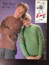 "Emu Knitting Pattern: Mens & Ladies Sweaters, 4ply, 32-42"", 4117"